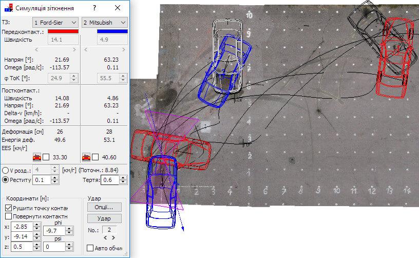 Ілюстрація вікна програми PC Crash: моделювання переміщення транспортних засобів в процесі ДТП від моменту зіткнення до кінцевих позицій після зіткнення.